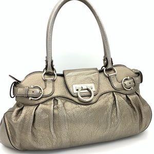 Auth Salvatore Ferragamo Gancini Silver Bronze Bag